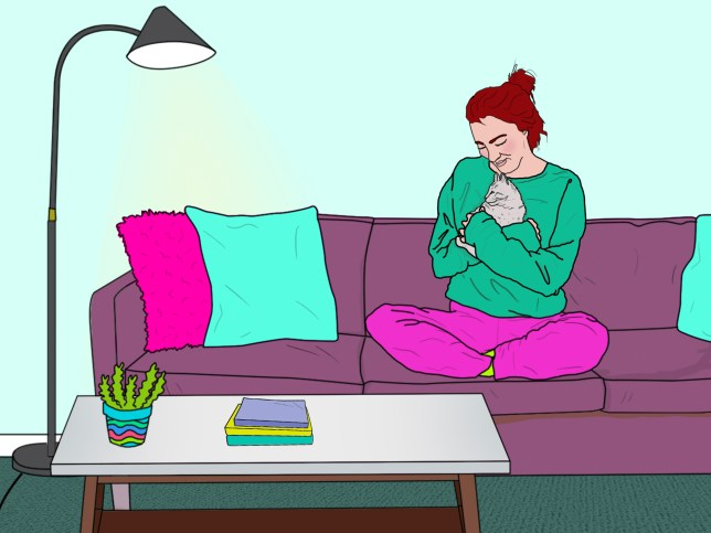 Illustration of a woman sat on a sofa, cuddling her cat