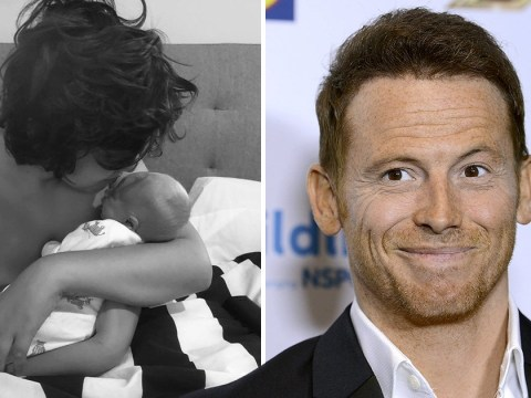 Joe Swash faces backlash after sharing snap of eldest son holding newborn baby