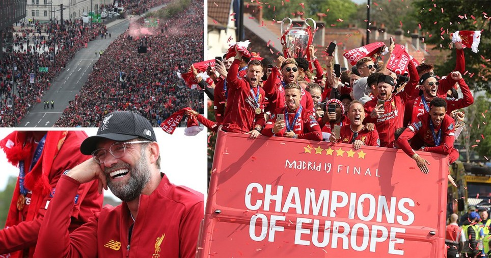 Liverpool players and Jurgen Klopp take part in the Champions League Parade to celebrate their victory