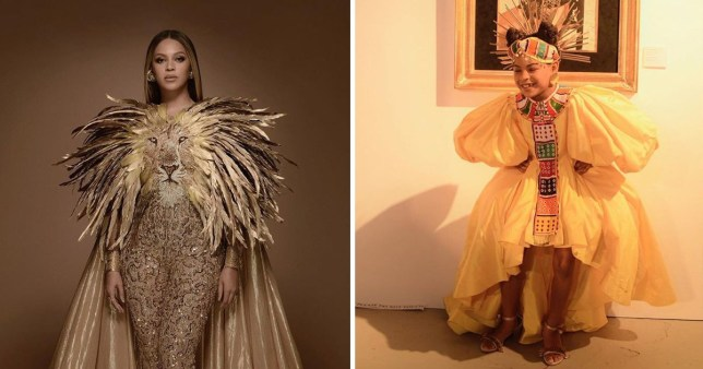 Beyonce and daughter Blue Ivy at the Wearable Art Gala wearing Lion King costumes