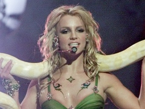 Britney Spears channels legendary 2001 VMAs performance as she teams up with snake for routine
