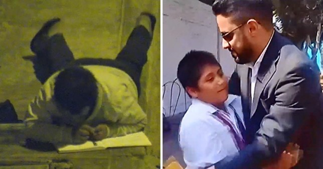 On the left, CCTV footage of 12-year-old Victor Angulo doing homework under the street light in Moche, Peru, on the right, picture of Victor Angulo being hugged by generous business donor Yaqoob Mubarak who has offered to build his family a new home