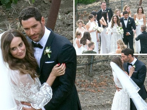 Lucifer star Tom Ellis kisses new wife Meaghan Oppenheimer in gorgeous wedding pictures