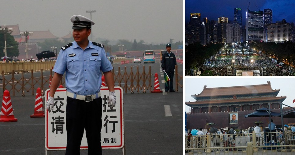 Police officer guards Tiananmen Square on the 30th anniversary of the 1989 protests in Beijing, China