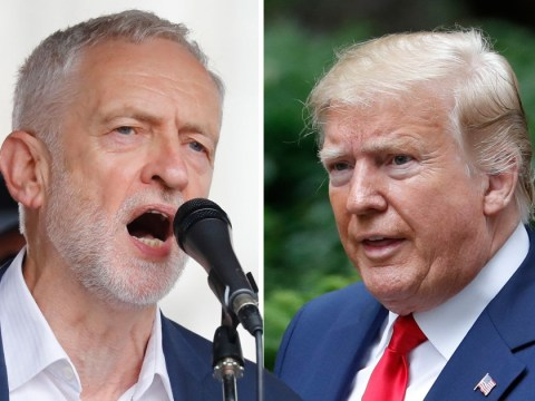 Jeremy Corbyn greets thousands on streets as Donald Trump calls protests 'fake news'