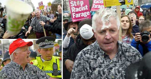 Protesters shouting 'Nazi scum' throw milkshake over Trump supporter