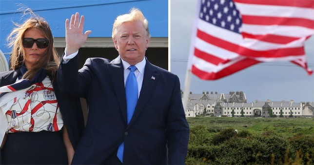 Donald Trump and Melania Trump stepping off of Air Force One and the US flag in front of Doonbeg hotel and golf resort
