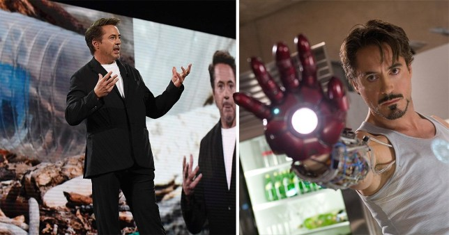 Robert Downey Jr. addresses the audience at Amazon Re:MARS conference