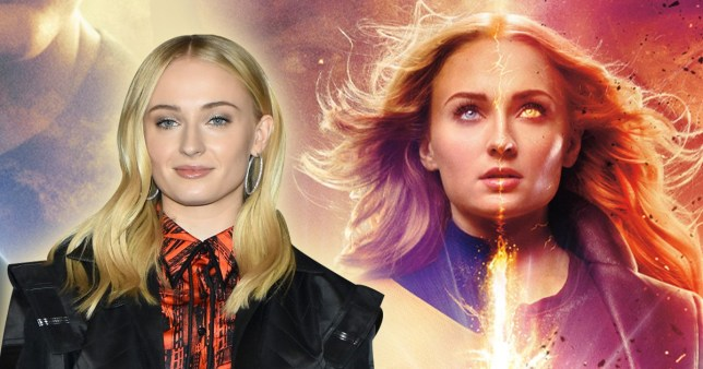 Sophie Turner out of character and as Jean Grey in X-Men: Dark Phoenix