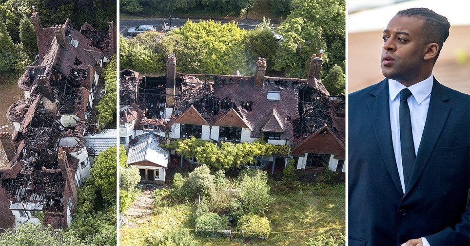 Oritse Williams and his Croydon mansion after the property went up in flames
