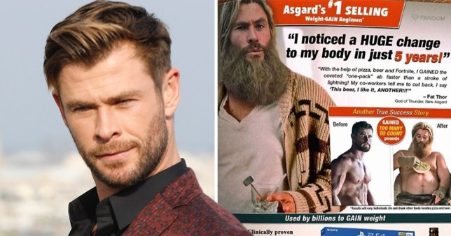 Chris Hemsworth mocks 'fat Thor' with weight gain advert