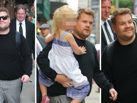 James Corden spotted carrying his daughter to Stephen Colbert show days after Gavin and Stacey announcement