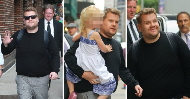 James Corden seen carrying his baby daughter in NYC