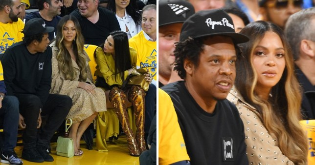Beyonce and Jay Z with Nicole Curran at the Golden State Warriors and Toronto Raptors NBA Finals game