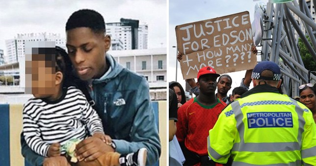 Picture of Edir Frederico Da Costa, 25, who died after stuffing wraps of drugs in his mouth when police detained him, next to a picture of protesters.