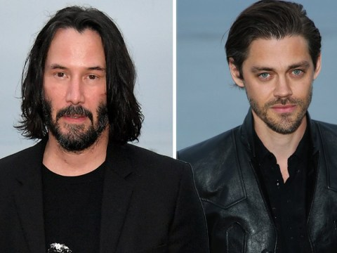 The Walking Dead's Tom Payne joins Keanu Reeves in all black everything at Saint Laurent runway show
