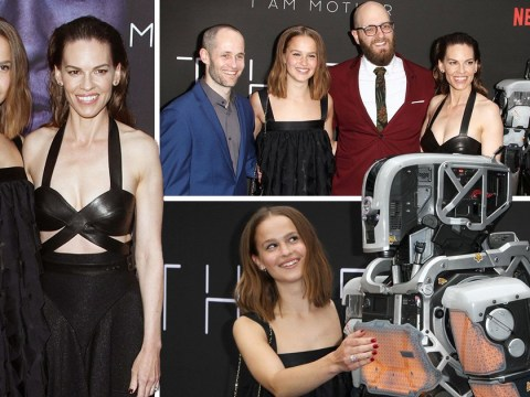 Netflix's I Am Mother robot makes eerie appearance at film's premiere alongside Hilary Swank and cast