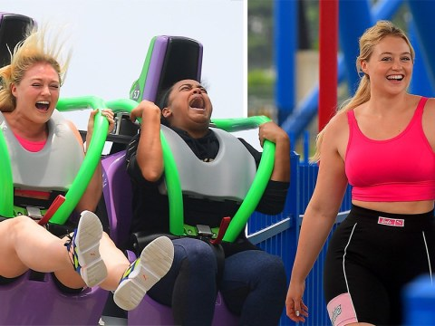 Iskra Lawrence is a whole mood at Six Flags Amusement Park and goes wild on the insane roller coasters