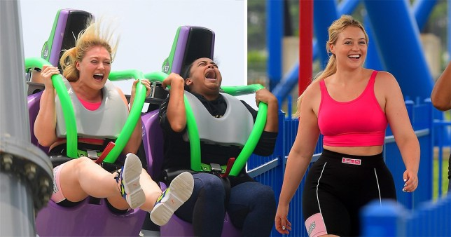 Iskra Lawrence braves the high roller coasters at Six Flags Amusement park