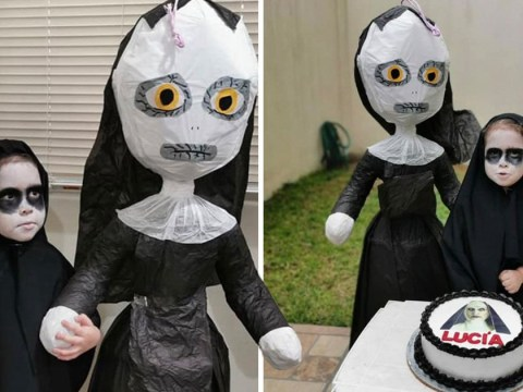 Three-year-old girl has seriously creepy birthday party inspired by horror film The Nun