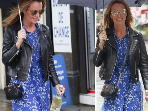 Amanda Holden toasts the end of her first week at Heart with a bottle of bubbly