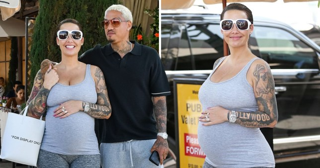 Amber Rose and boyfriend A.E grab lunch in Beverly hills' Il Pastaio