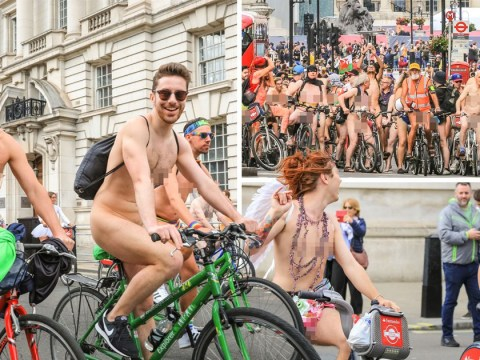 Naked cyclists pictured riding through London on Boris bikes