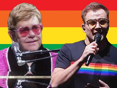 Taron Egerton nods to LGBTQ+ community in pride flag t-shirt as he joins Elton John onstage for Your Song duet