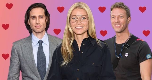Gwyneth Paltrow with husband Brad Falchuk and ex-husband Chris Martin