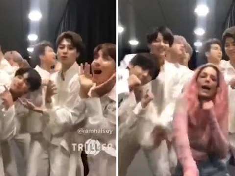 So this is what BTS and Halsey get up to backstage as they throw us adorable Boy With Luv video
