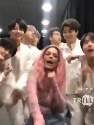 Halsey has a secret handshake with RM like she's in BTS