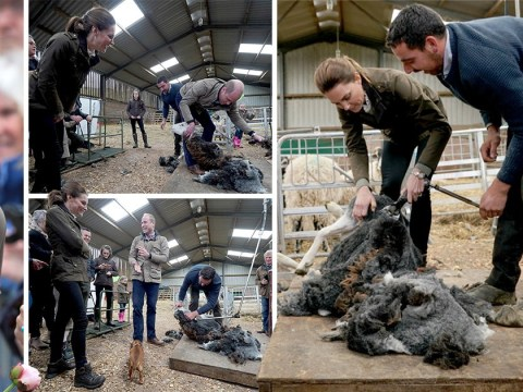William and Kate try their hand at sheep shearing on Cumbria trip
