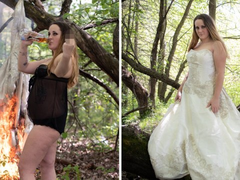 Domestic violence survivor burns her wedding dress in epic divorce photoshoot