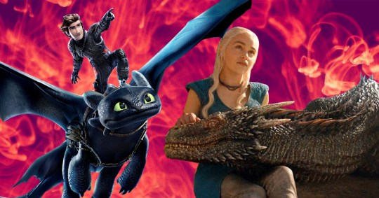 Game of Thrones Daenerys Targaryen and her dragons with Hiccup and Toothless from How To Train Your Dragon
