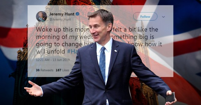 Jeremy Hunt sent weird tweet about his wedding day
