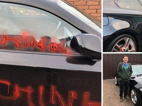 Racist graffiti sprayed on Asian businessman's new BMW