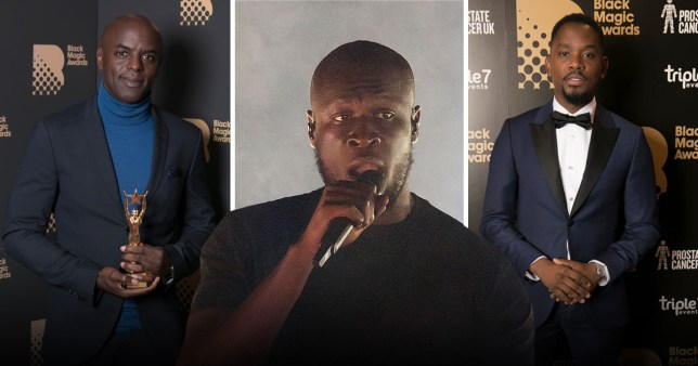 Stormzy, and Trevor Nelson and Aml Ameen at the Black Magic Awards 2019