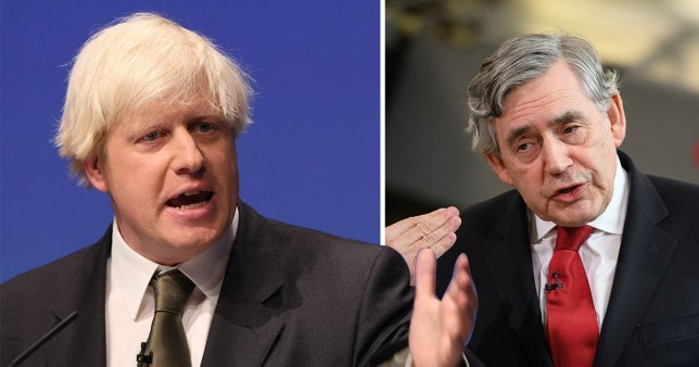 Two images next to each other of Boris Johnson and Gordon Brown