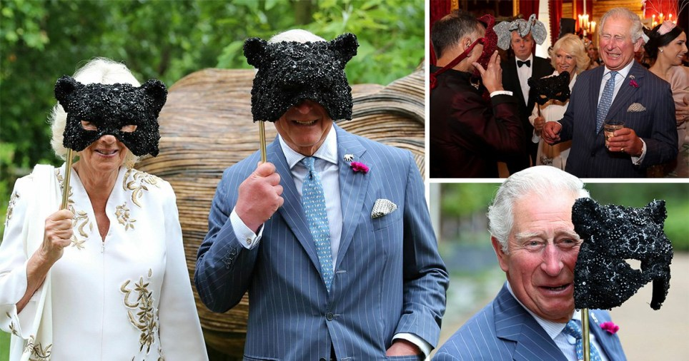 Prince Charles and Camilla donned matching masks at the ball (Picture: PA/ AP)
