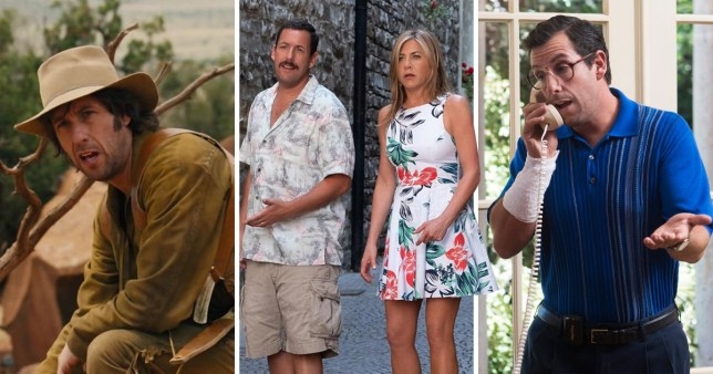 jennifer aniston and adam sandler in murder myster, adam sandler in the ridiculous six and adam sandler in sandy wexler