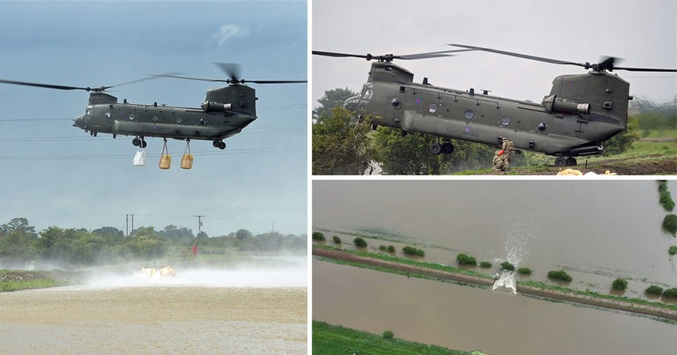 RAF helicopters are bringing sandbags to the site of the river breach