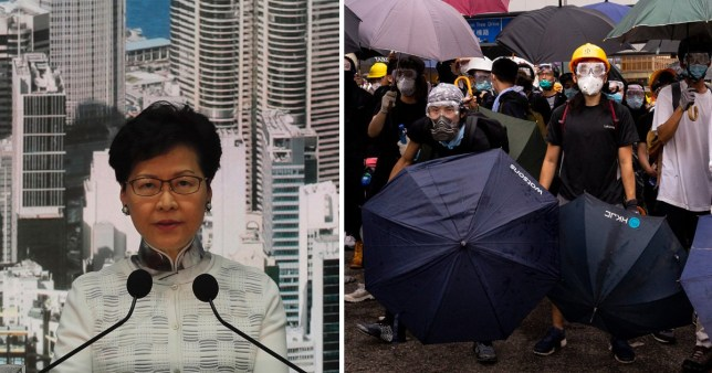 Chief executive Carrie Lam denied her reversal was because of protests (Picture: Getty/EPA)