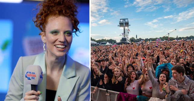Jess Glynne and festival crowd
