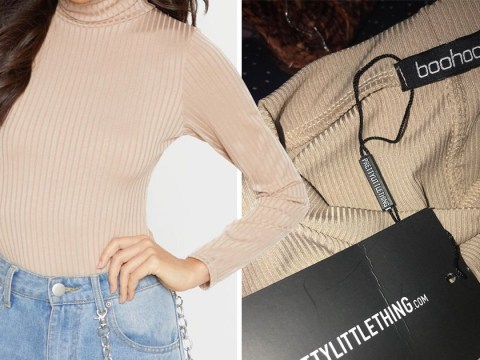 Woman confused by top she ordered from PrettyLittleThing that had a Boohoo label