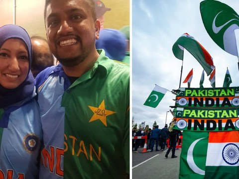 Couple from India and Pakistan can't decide which jersey to wear so stitch their own two-in-one
