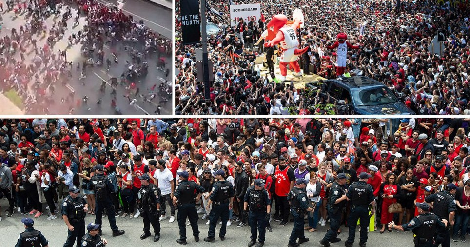 Two injured and hundreds flee as shots are fired during NBA championship rally