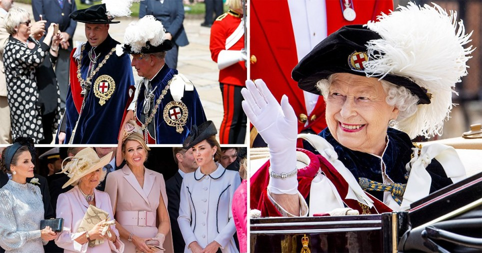 The royal party watched as Garter knights - both commoners and royals including their husbands - wore lavish velvet robes (Picture: PA)
