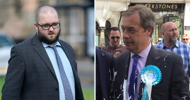 Paul Crowther arrives at North Tyneside Magistrates' Court in North Shields where he faced charges of common assault and criminal damage after throwing a milkshake at Nigel Farage (Picure: PA)