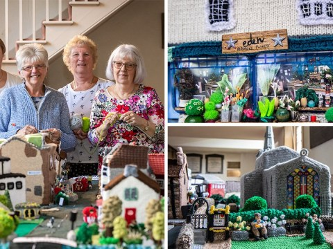Yarn bombers recreate home town including pub and the postie