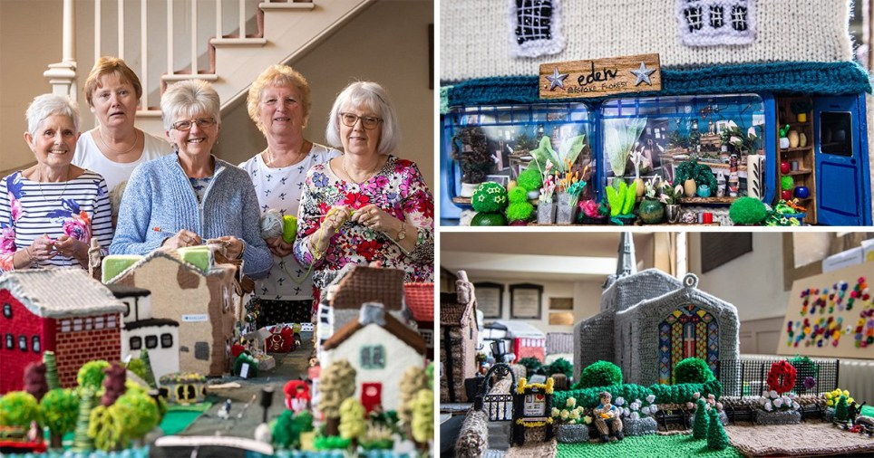 A group of seven knitting fans have recreated their home town of Thrapston in Northamptonshire